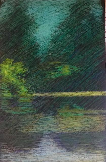 Newberry, Lake Fulmor, edit demo, Newberry Idyllwild Pastel Plein Air Workshop, 2021