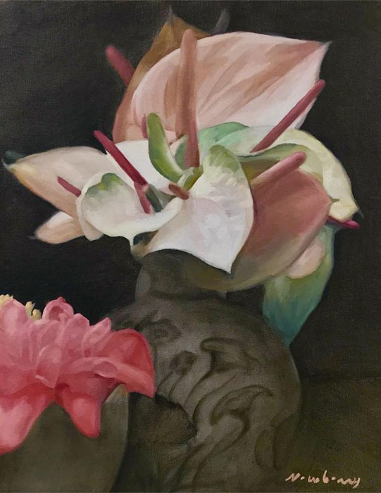 """Newberry, Calla Lilies, 2018, oil on canvas, 16x12"""""""