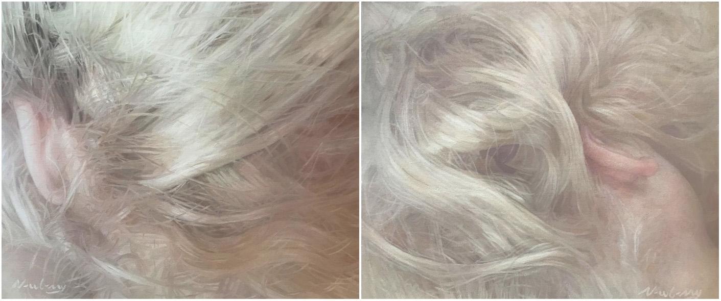 "Newberry, Heady Currents: Georgie's Ears, diptych, 2021, oil on canvas, 20x48"""