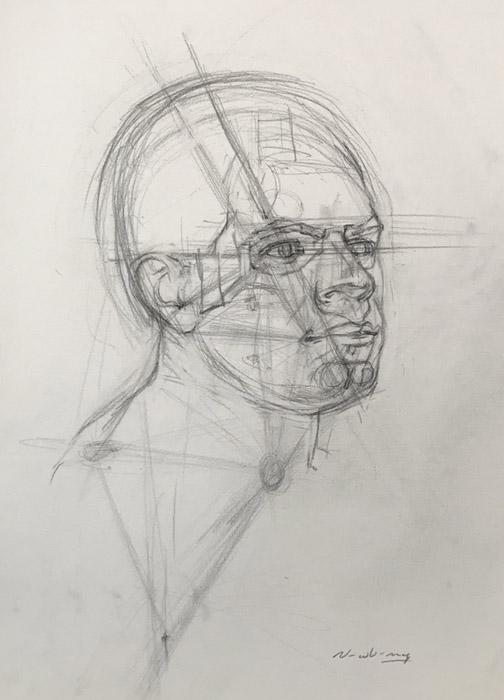 Newberry, Head Study of Erik, using triangulation, graphite