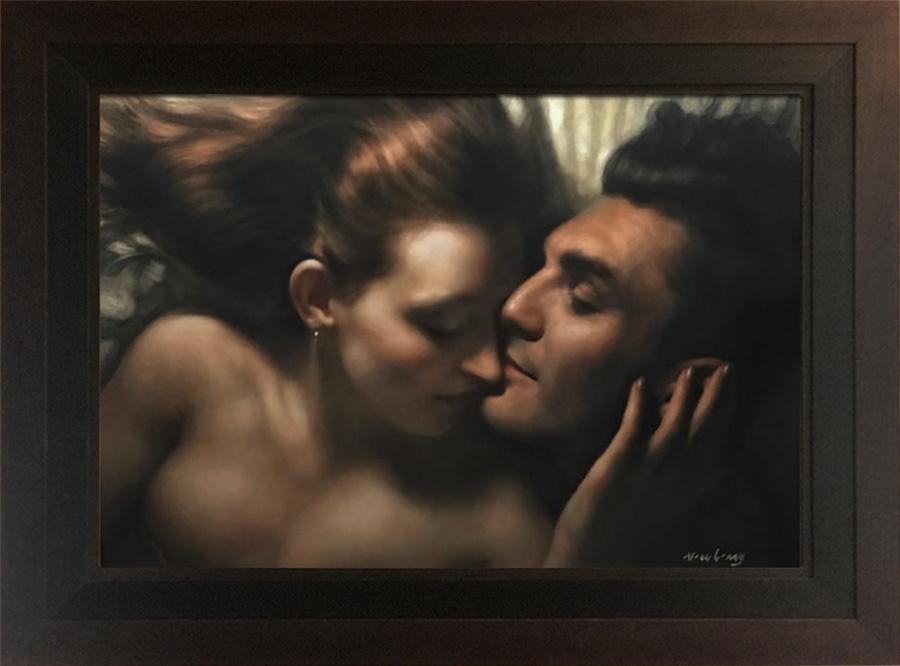 "Newberry, The Kiss, 2019, oil, 24x36"", framed 33.50x44.25"""