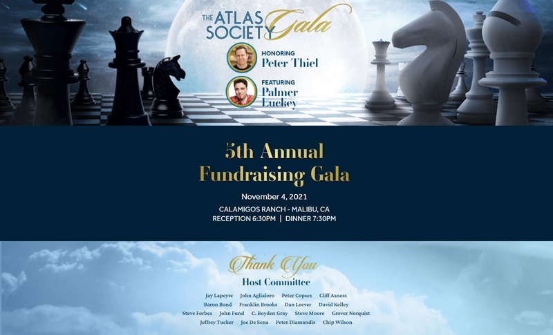 The Atlas Society Gala Honoring Peter Thiel
