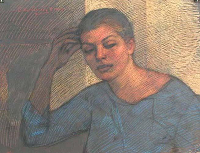 Newberry, pastel figure drawing, Valia