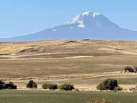 Near the Oregon Washington Border, I think it is Mt Adams.